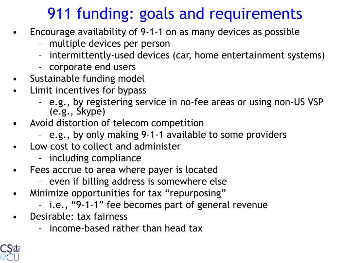 911 funding: goals and requirements