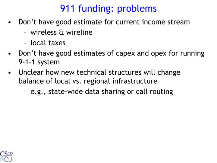 911 funding: problems