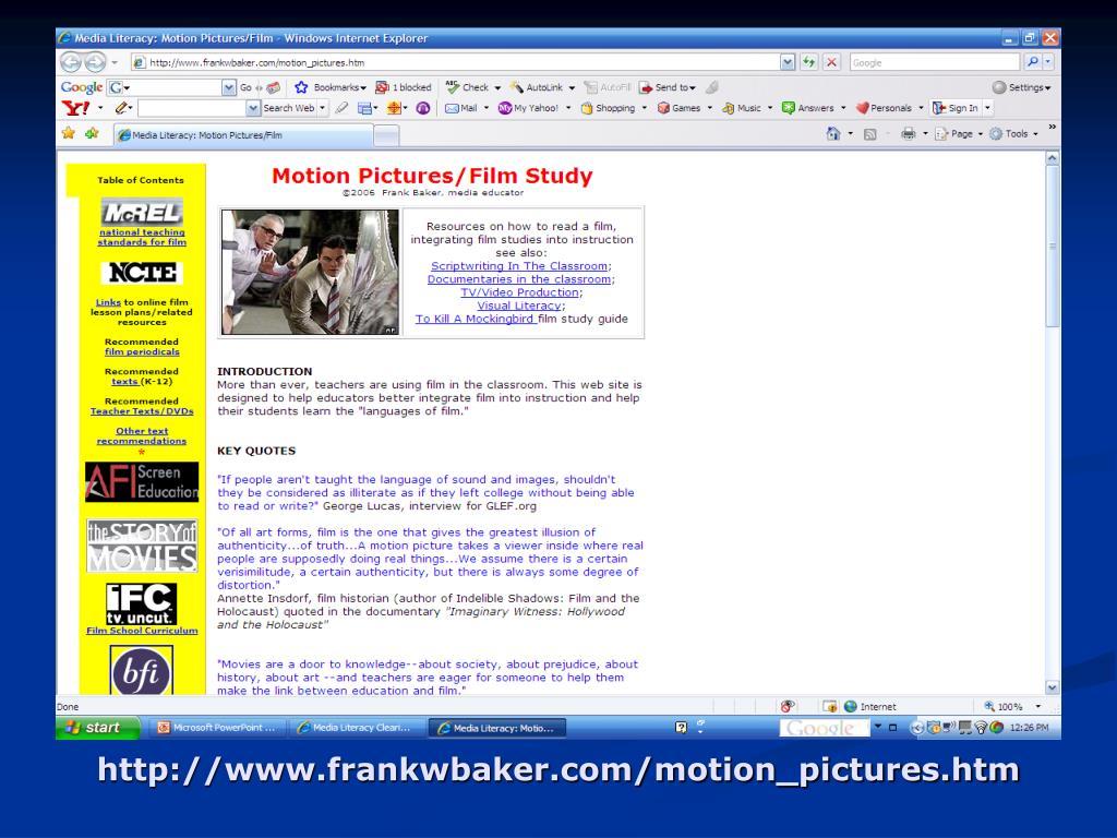 http://www.frankwbaker.com/motion_pictures.htm