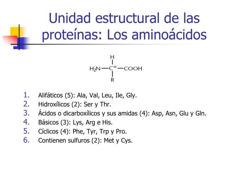 Unidad estructural de las proteínas: Los aminoácidos