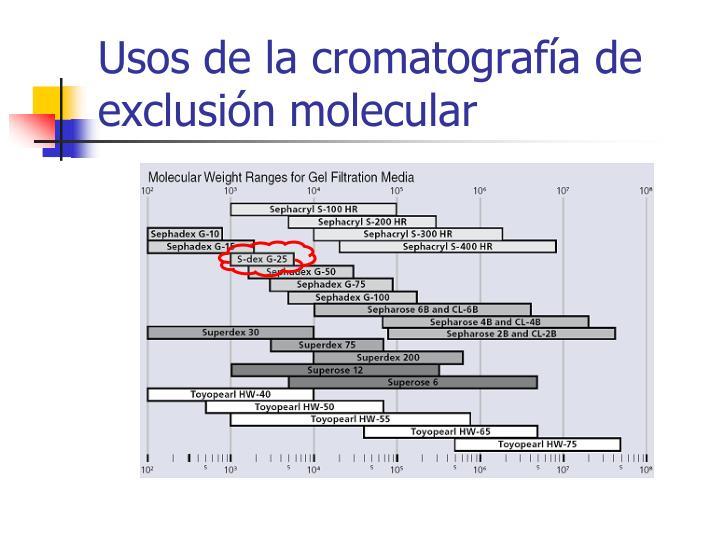 Usos de la cromatografía de exclusión molecular