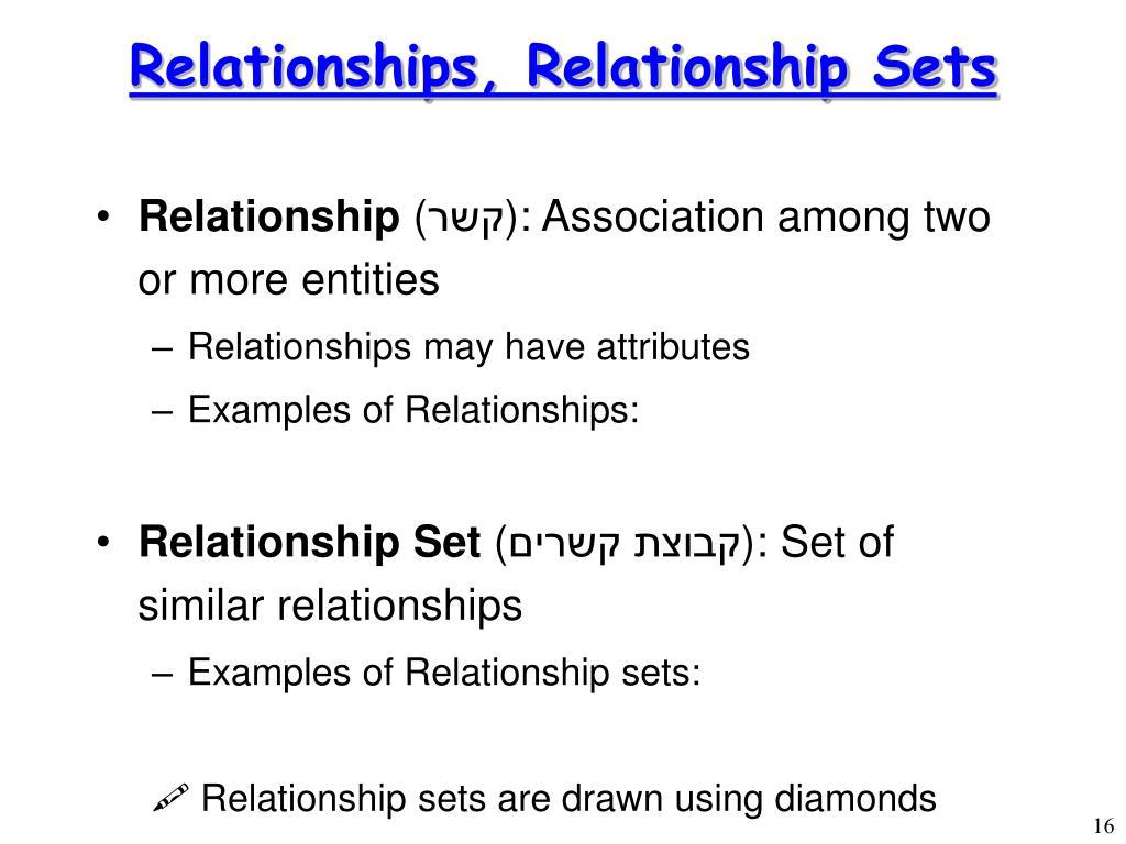 Relationships, Relationship Sets