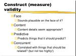 construct measure validity