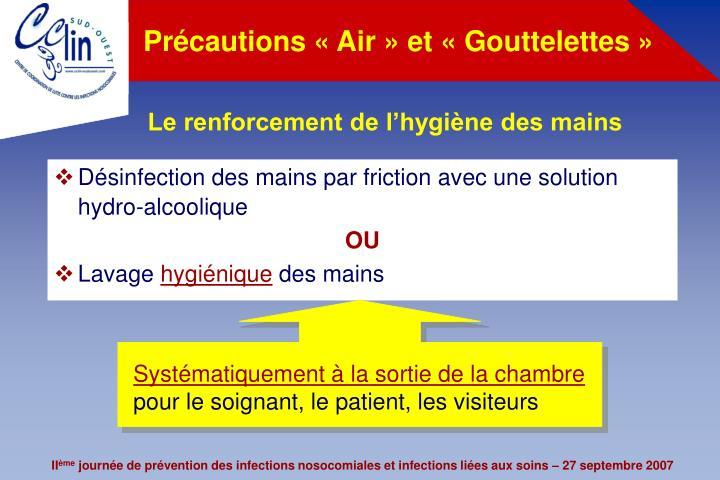 Précautions «Air» et «Gouttelettes»