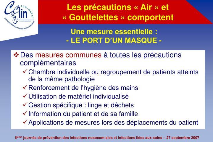 Les précautions «Air» et