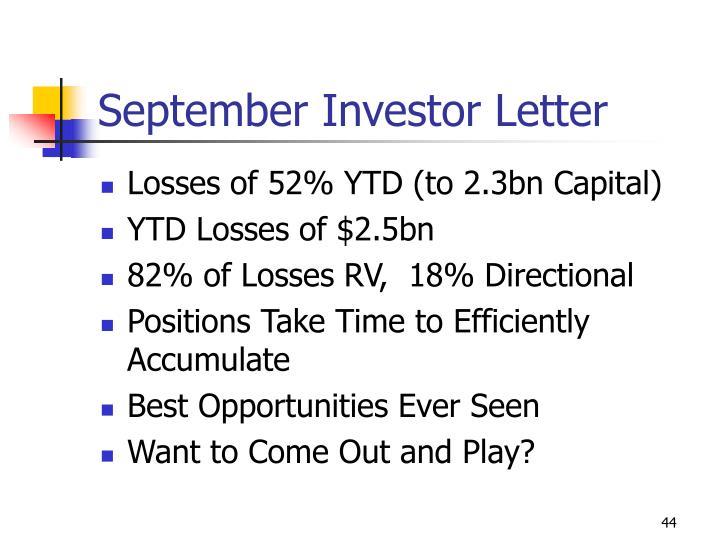 September Investor Letter