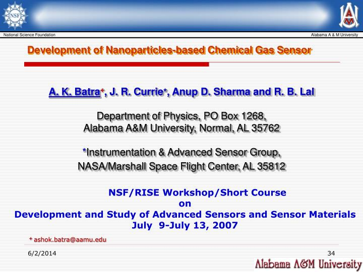 Development of Nanoparticles-based Chemical Gas Sensor