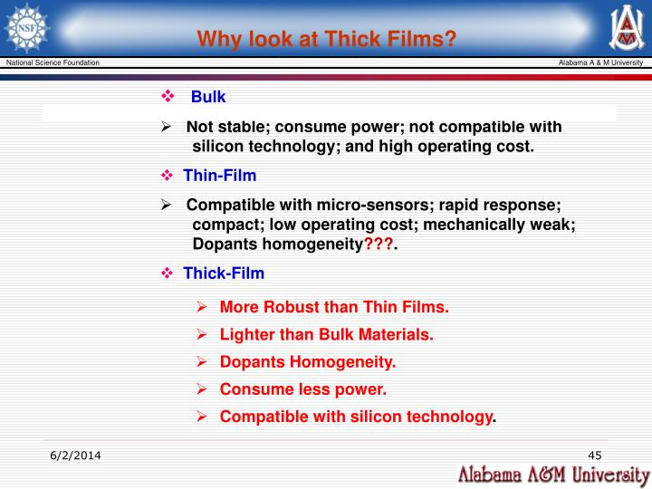 Why look at Thick Films?