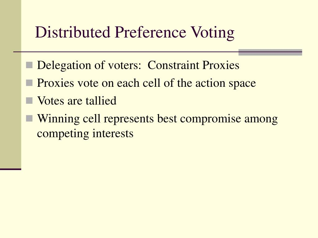 Distributed Preference Voting