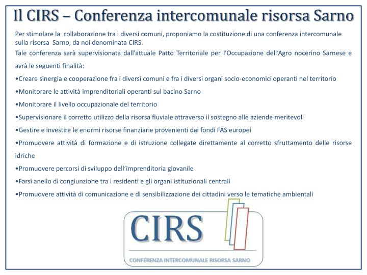 Il CIRS – Conferenza intercomunale risorsa Sarno