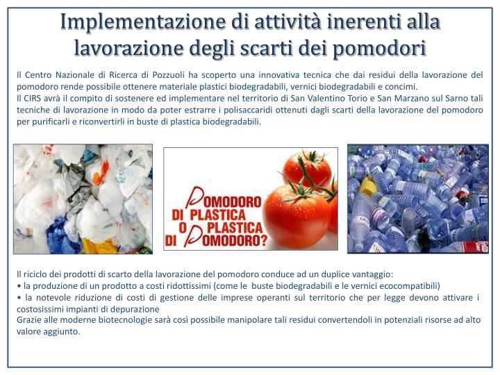 Implementazione di attività inerenti alla lavorazione degli scarti dei pomodori