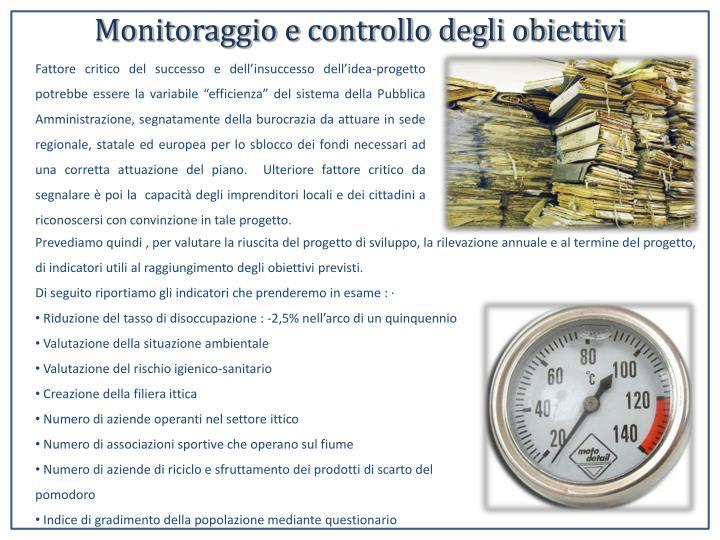 Monitoraggio e controllo degli obiettivi