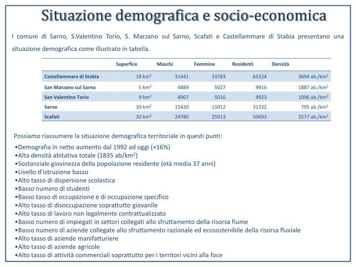 Situazione demografica e socio-economica