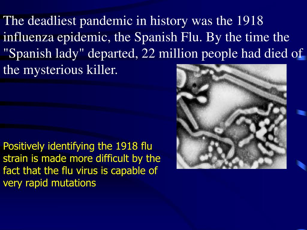 "The deadliest pandemic in history was the 1918 influenza epidemic, the Spanish Flu. By the time the ""Spanish lady"" departed, 22 million people had died of the mysterious killer."