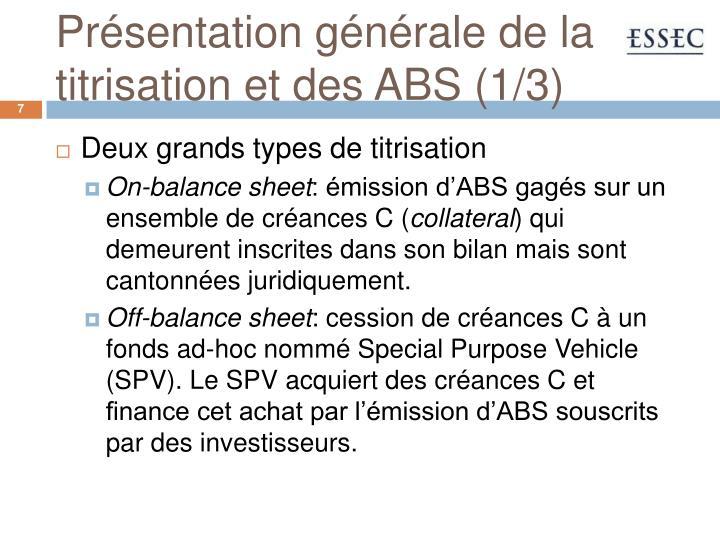 Présentation générale de la titrisation et des ABS (1/3)