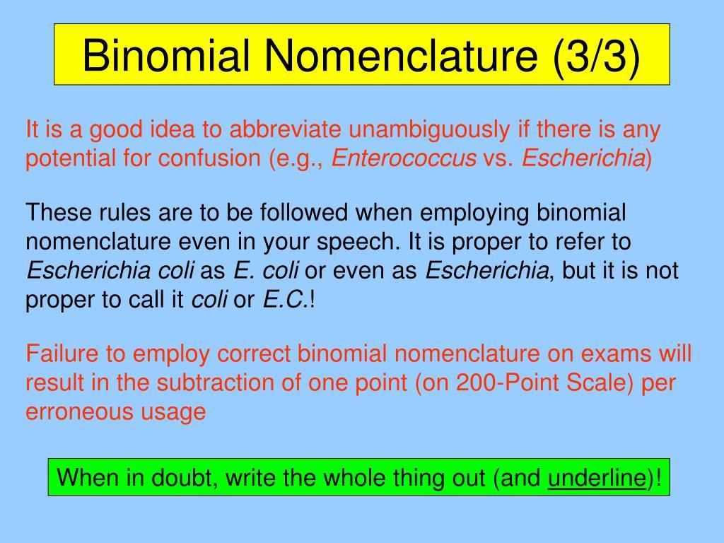 Binomial Nomenclature (3/3)