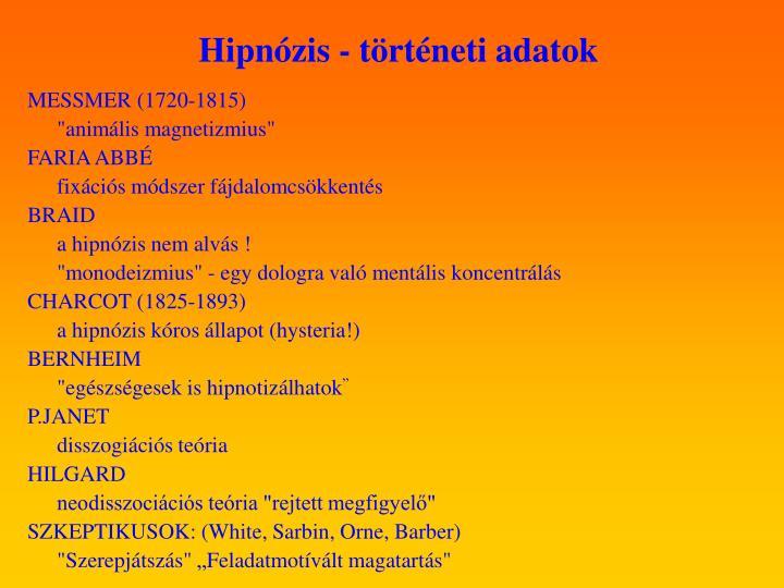 Hipnózis - történeti adatok