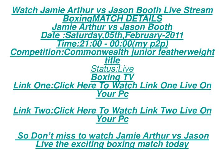 Watch Jamie Arthur vs Jason Booth Live Stream BoxingMATCH DETAILS