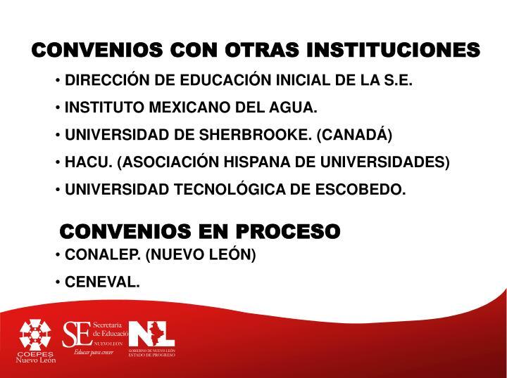 CONVENIOS CON OTRAS INSTITUCIONES