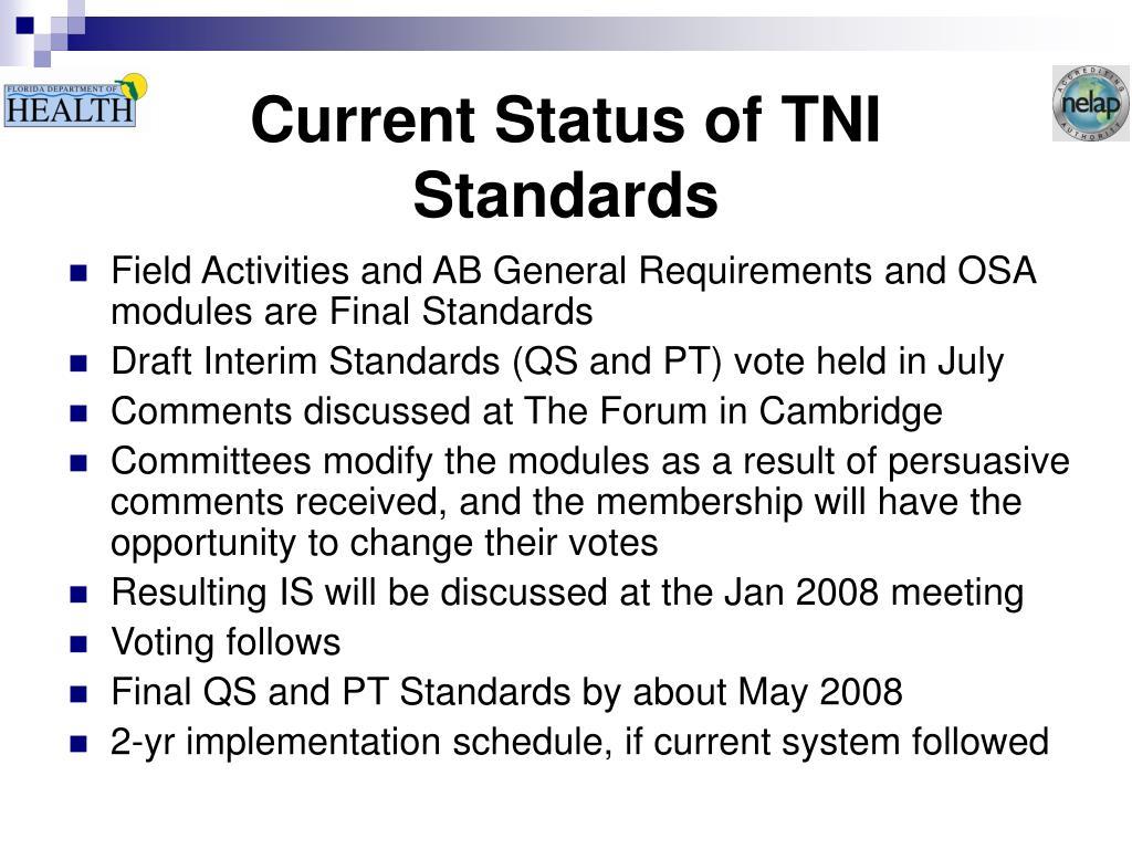 Current Status of TNI Standards