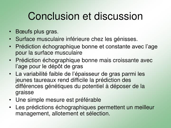 Conclusion et discussion