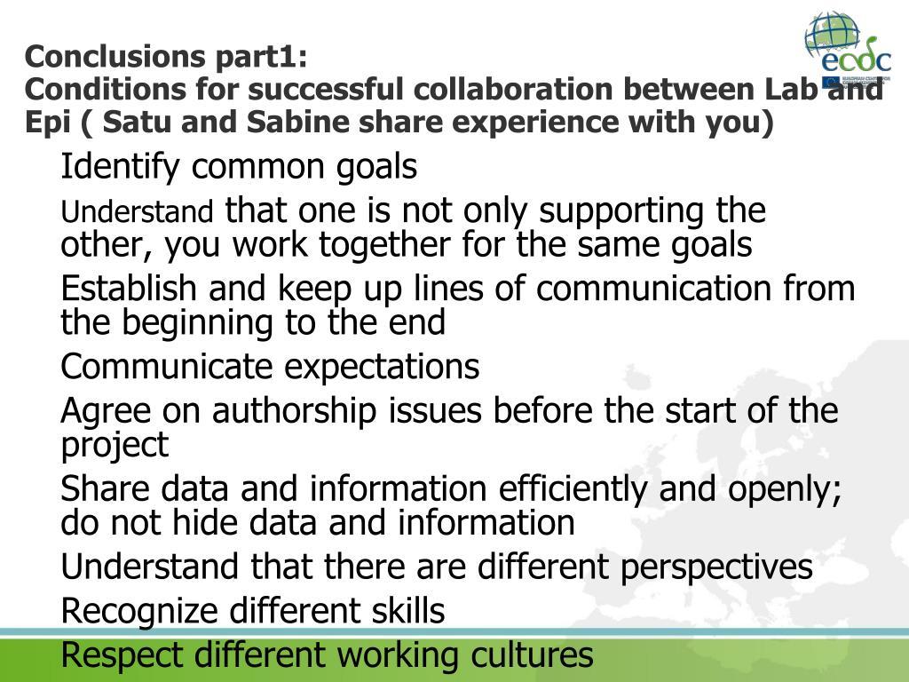 Conclusions part1: