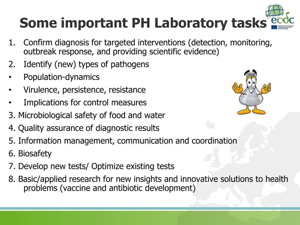 Some important PH Laboratory tasks