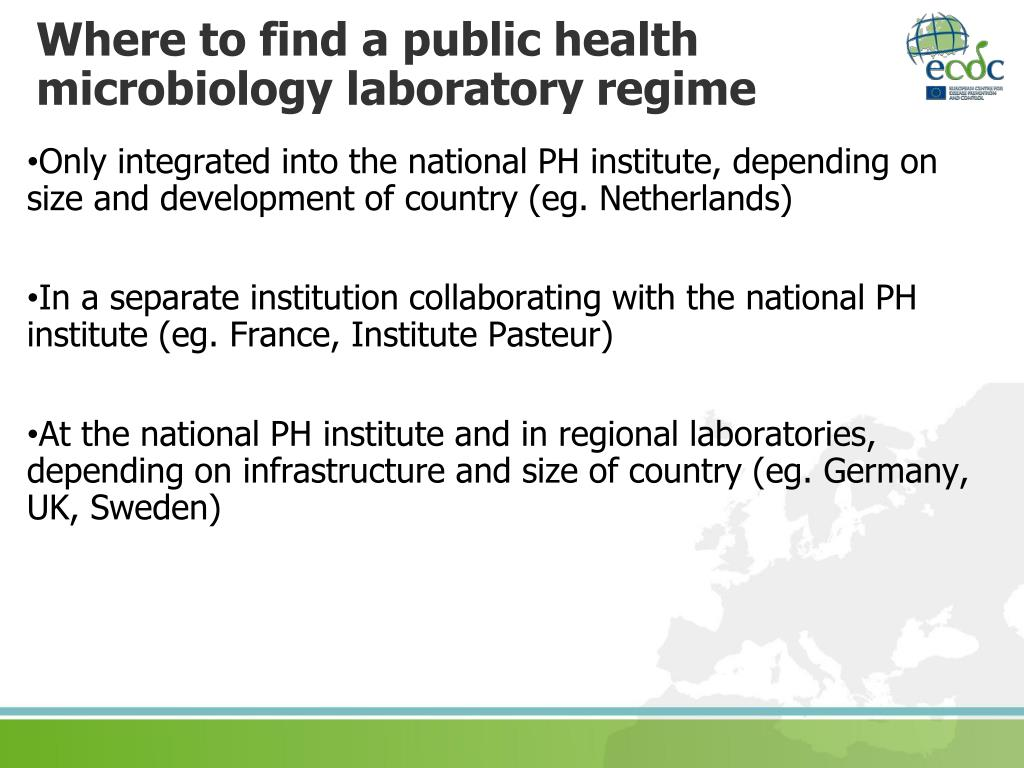 Where to find a public health microbiology laboratory regime