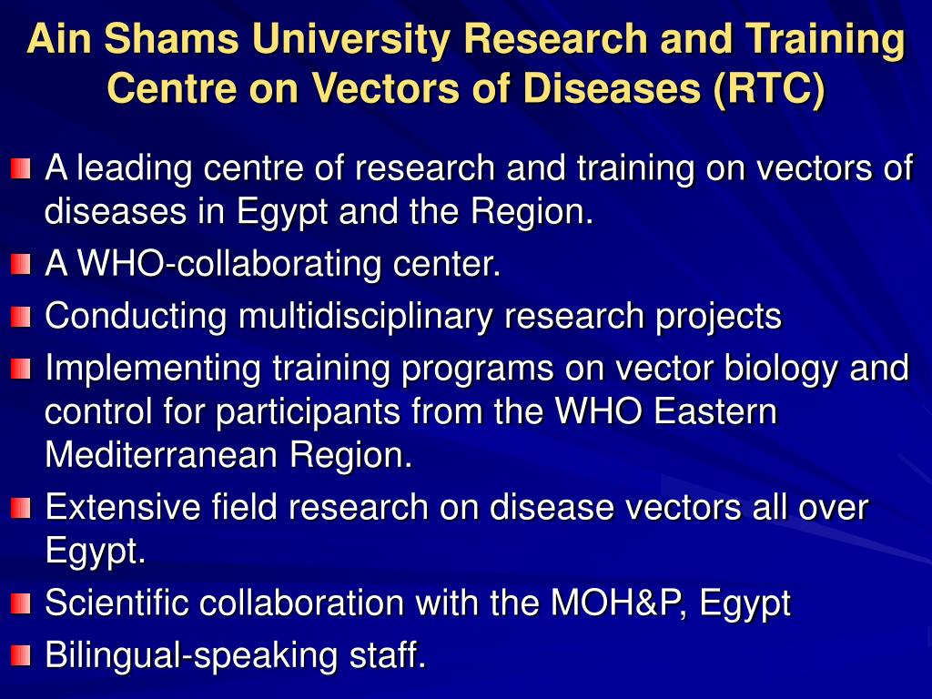 Ain Shams University Research and Training Centre on Vectors of Diseases (RTC)