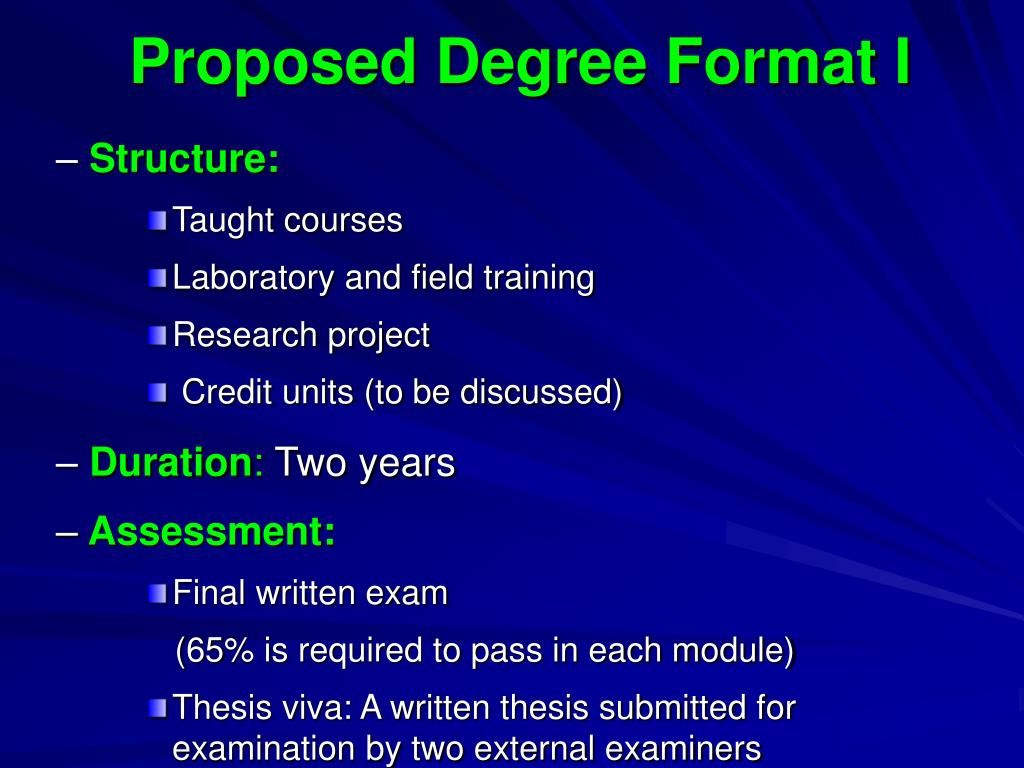 Proposed Degree Format I