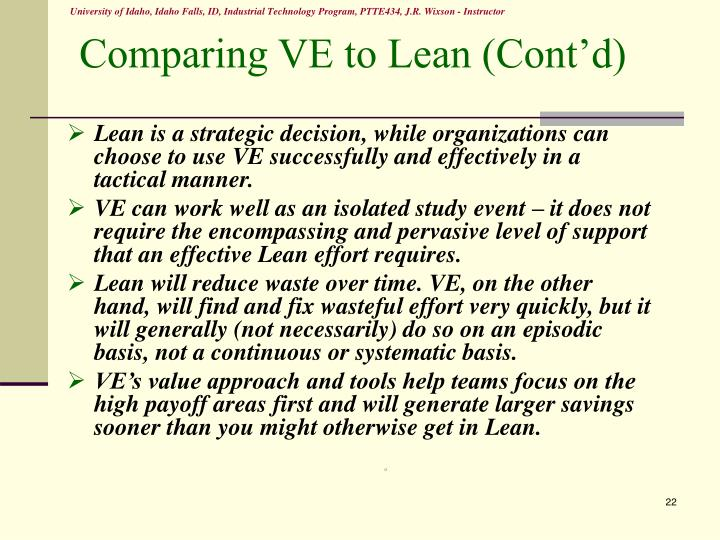 Comparing VE to Lean (Cont'd)