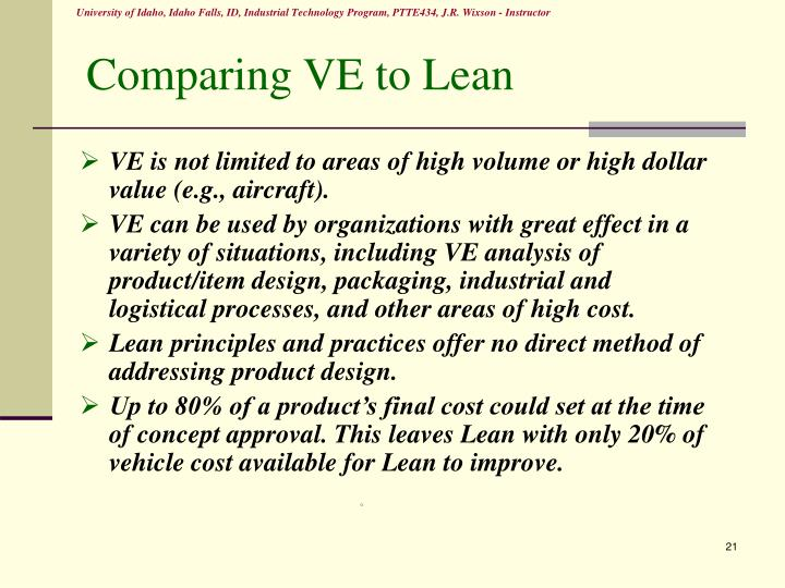 Comparing VE to Lean