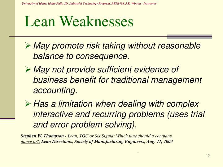 Lean Weaknesses