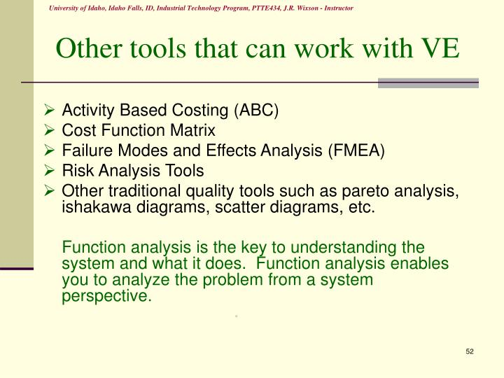 Other tools that can work with VE