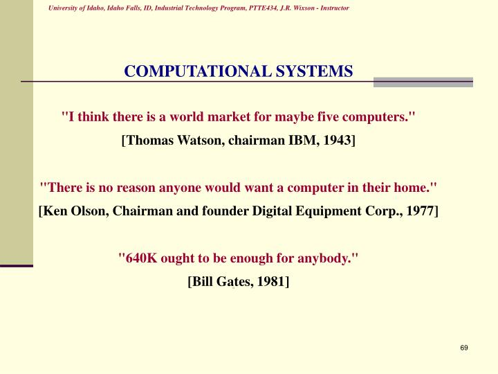 COMPUTATIONAL SYSTEMS