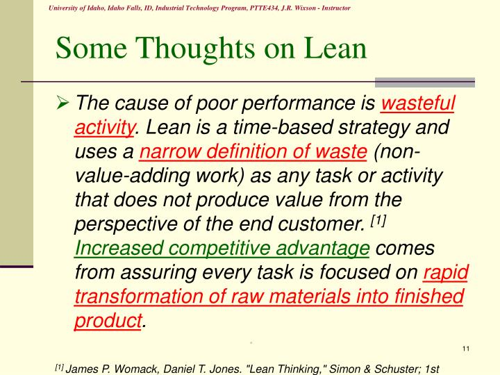 Some Thoughts on Lean