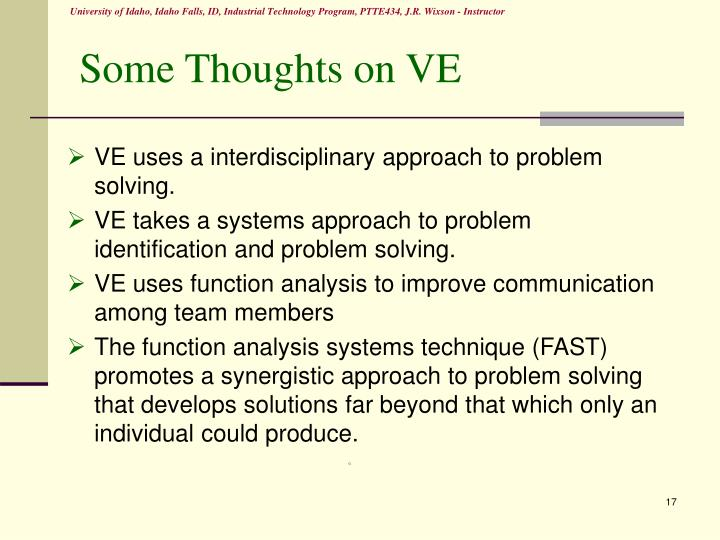 Some Thoughts on VE