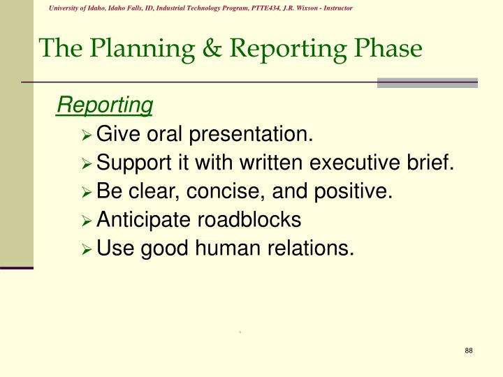The Planning & Reporting Phase