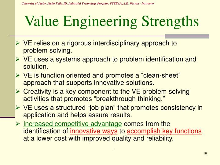 Value Engineering Strengths