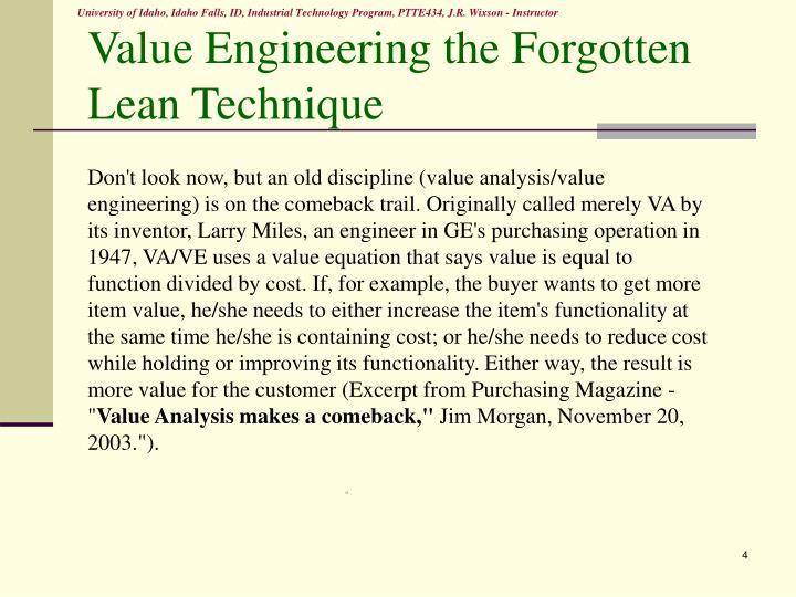Value Engineering the Forgotten Lean Technique
