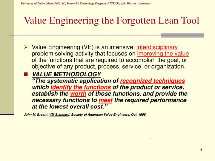 Value Engineering the Forgotten Lean Tool