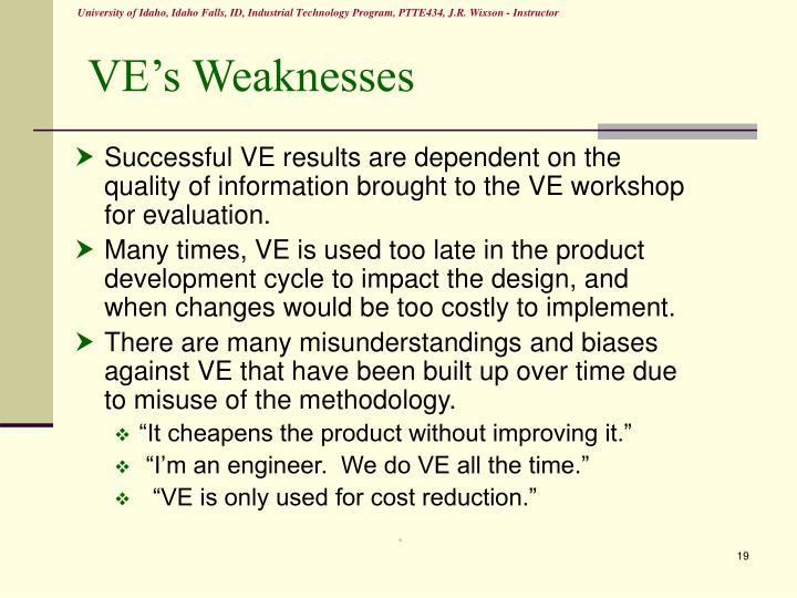 VE's Weaknesses