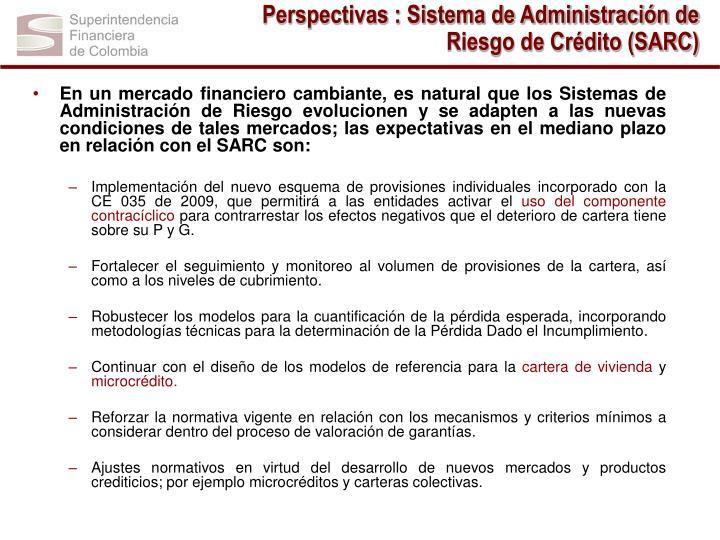 Perspectivas : Sistema de Administración de Riesgo de Crédito (SARC)