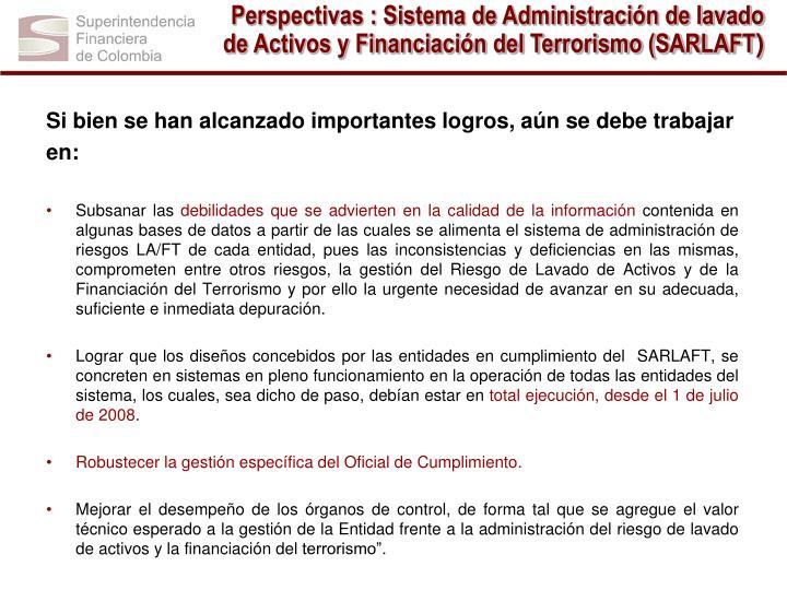 Perspectivas : Sistema de Administración de lavado de Activos y Financiación del Terrorismo (SARLAFT