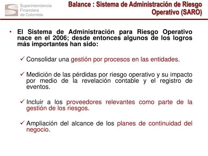 Balance : Sistema de Administración de Riesgo Operativo (SARO)
