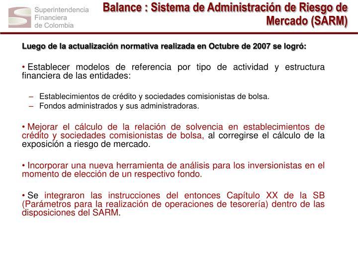 Balance : Sistema de Administración de Riesgo de Mercado (SARM)