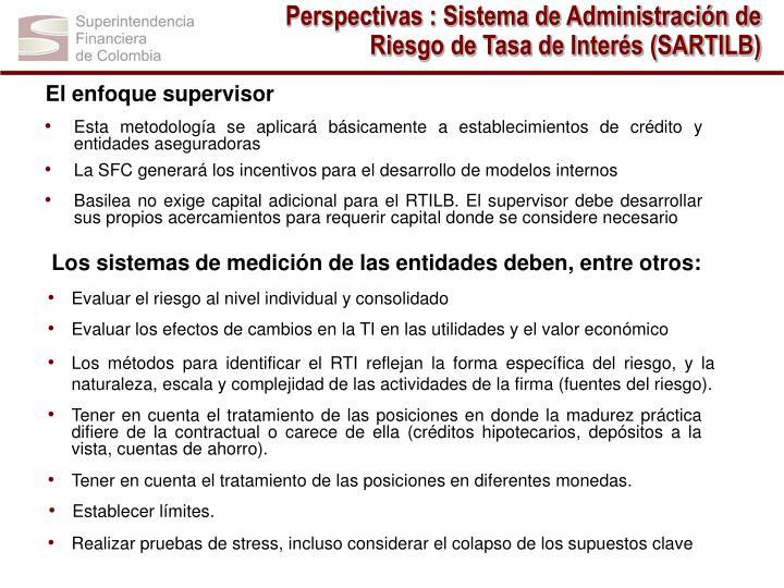 Perspectivas : Sistema de Administración de Riesgo de Tasa de Interés (SARTILB)