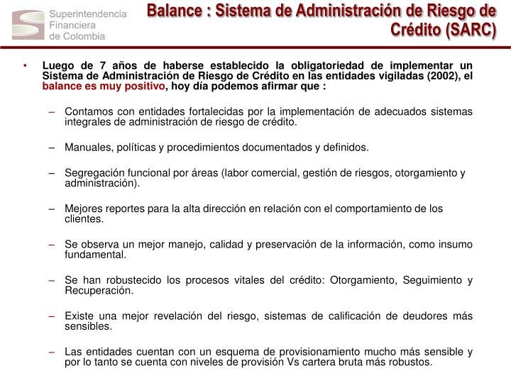 Balance : Sistema de Administración de Riesgo de Crédito (SARC)