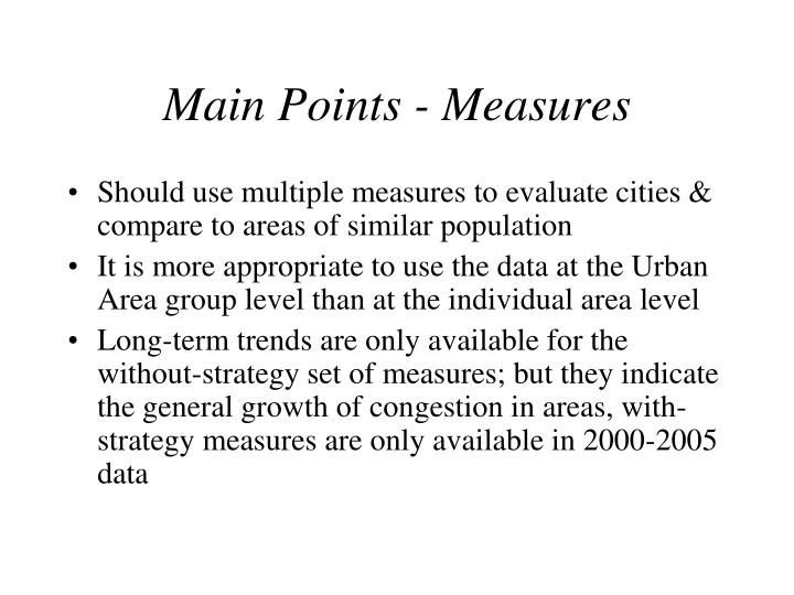 Main Points - Measures