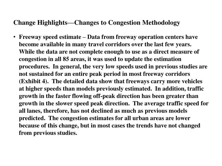 Change Highlights—Changes to Congestion Methodology
